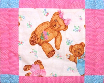 Teddy Bear Quilt in Pink and Blue for Baby Girls Pink Baby Blanket