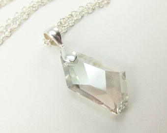 Sterling Silver Crystal Wedding Necklace Smoky Crystal Bridal Necklace Modern