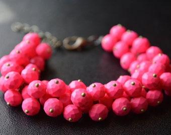 Pink Cluster Bracelet Beaded Pink Bracelet Antiqued Brass Matte Adjustable Beaded Jewelry