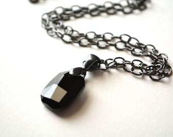 Geometric Pendant Black Crystal Dark Silver