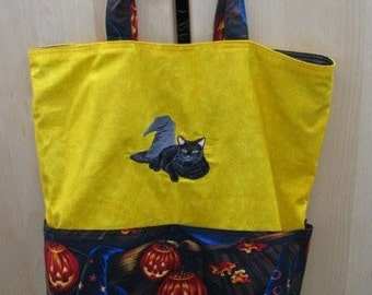 Black Cat and Witch Hat Eco Friendly Tote, Purse, Bag