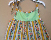 Vintage 60s Girls Tank Top with adjustable Straps Size 2T Green and Yellow Flowers