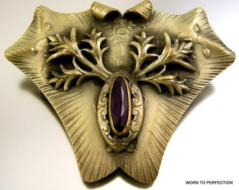 Unsigned George Steere Art Nouveau Sash Pin with Purple Glass