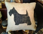 SCOTTIE Lined Burlap accent pillow OFG Team 12x12 Custom orders welcome Can make bigger or smaller, other colors