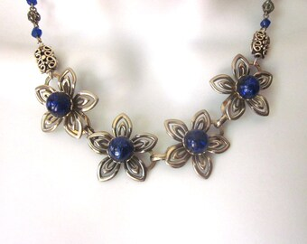 Vintage Assemblage Necklace Cobalt Jewelry Metal Work Floral Jewelry Repurposed Necklace Filigree Beads
