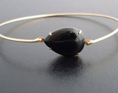 Black Bracelet, Black Jewelry, Black Bangle Bracelet, Black and Gold Bracelet, Black and Gold Jewelry