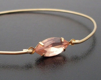 Peach Bracelet, Peach Jewelry, Peach Bridesmaid Jewelry, Pastel Bracelet Bangle, Pastel Jewelry