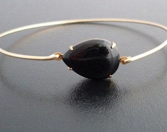 Black Bracelet, Black Jewelry, Black Bangle Bracelet, Black and Gold Bracelet, Black and Gold Jewelry