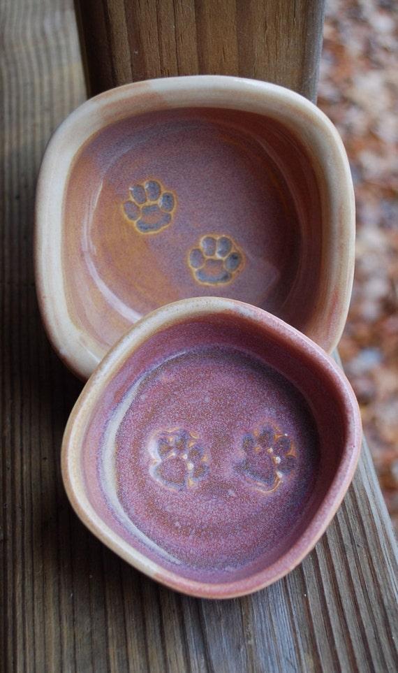 Cat Bowl Dish Set for Food and Water Feeding Handmade By Big Dog Pots Pottery bigdogpots