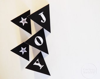 Joy Chalkboard Bunting Printable - Modern Christmas Instant Download