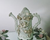 50% Off SALE Vintage Porcelain Water Can, Pitcher Ornate Cherub Angel, Applied Roses, Shabby Cottage, White and Gold