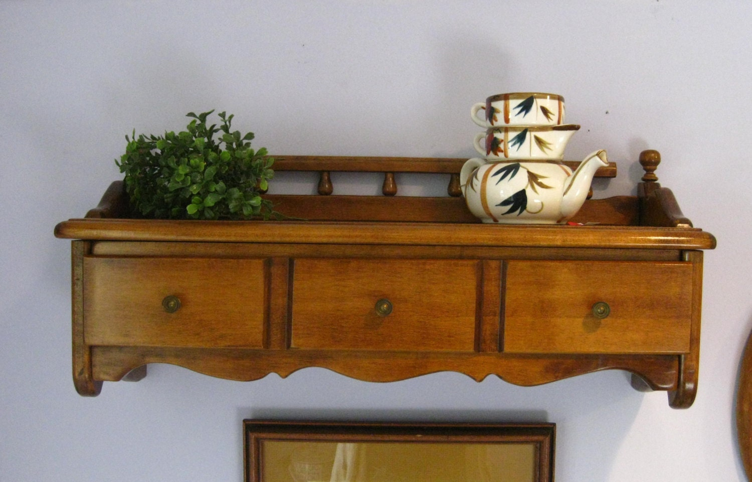 Vintage Ethan Allen Shelf With Drawer Solid Maple Wood Wall