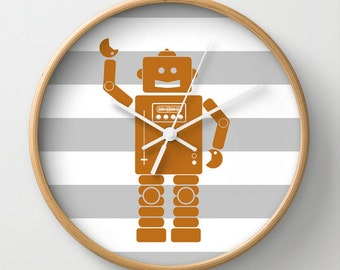 Robot 2 Orange Wall Clock 10 inch Diameter Gray and White Stripes