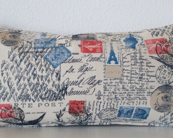 Red and blue french script decorative pillow cover - french stamp primary colors accent pillow cover