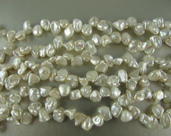 White Mini Keishi Pearls, Graduated Sizes 5mm to 7mm, Up to 4mm Thick, Top Drilled Nuggets, Luminous WHITE Nacre, 16 in strand (P066)