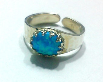 opal silver adjustable ring