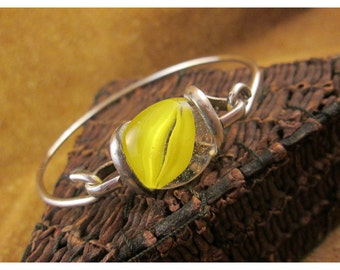 Yellow Cat's Eye Glass Marble & Sterling Silver Bracelet – Vintage Sterling Silver Jewelry