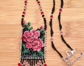 Victorian Rose Beaded Mini Pouch Amulet Necklace
