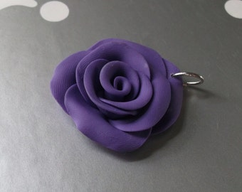 Sculpted Pendant Necklace Royal Purple Rose