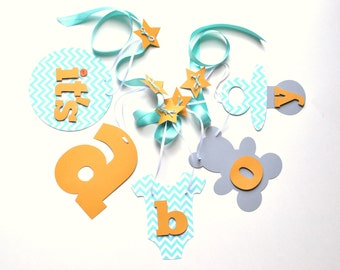 Baby shower decorations orange and turquoise chevron it's a boy banner by ParkersPrints on Etsy