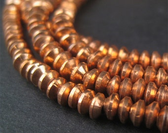 200 Bicone Beads - African Copper Beads - 3mm Metal Heishi - Copper Spacers - Fair Trade - Made in Africa (MET-HSHI-CPR-133)
