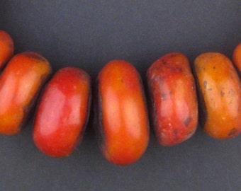24 Moroccan Amber Resin Beads - Berber Resin Beads - African Beads - Amber Resin - Antique Beads - Made in Morocco ** (AMB-RND-RED-102)