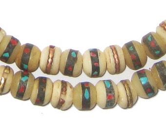 108 Mala Prayer Beads - Inlaid with Turquoise & Coral - Tibetan Beads - Buddha Beads - Yak Nepal Beads for Meditation (BON-RND-WHT-259)