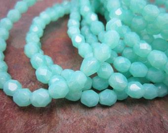 Aqua Opal Faceted Fire polish Czech Glass 6mm Beads