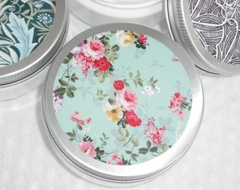 Lotion / Hand & Body / YOUR CHOICE of Scent / 2 oz / Floral Decor Tin Lid Containers