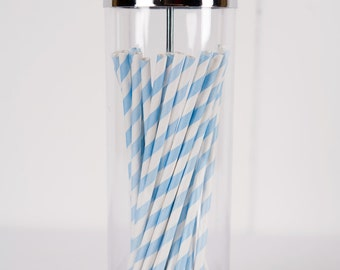 50 Paper Straws - Made in the USA - Light Blue and White Striped - Drinking Straws - Blue Straws - Light Blue Paper Straws