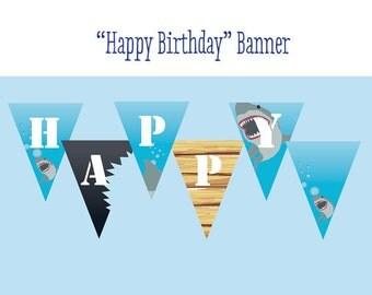 Shark Printable Happy Birthday Party Banner - Printable File - Printable Shark Birthday Party Banner - Shark Birthday - Instant Download