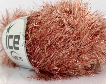 Metallic Eyelash camel brown copper Lurex ice yarns 1 skein 50gr sparkly fancy bukly shimmering Fun fur  etsy  shipping at USPS cost 18129