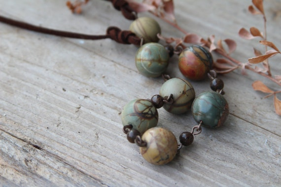 Boho necklace, Chain Links Boho necklace, natural stones Boho, brown green, made in Israel