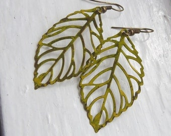 Yellow Green Leaf Statement Earrings. Leaf Earrings. Large Leaf Earrings. Large Earrings. Filigree. Yellow. Vintage Inspired. Shabby Chic.