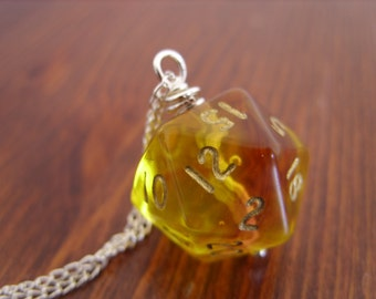 D20 dice pendant ombre purple orange yellow transparent geek gamer DnD role playing RPG dice jewelry dice necklace translucent