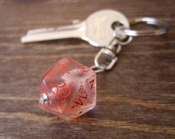 D20 dice keychain elf runes elvish die red fantasy inscriptions men die key chain geek rpg dungeons and dragons tabletop gamer