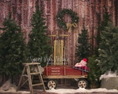 Newborn Baby Child Photography Prop Digital Backdrop for Photographers -Christmas Holiday - Tree Lot
