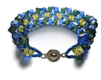 Swarovski Crystal Bracelet, Delica, Seed Bead, Blue, Gold, Yellow, Green, Sapphire, Jonquil, Tourmaline, Notre Dame, Royal, Beaded, Sparkle