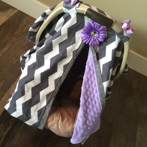 Car seat Canopy Lavender Minky Dot  Inside  / Car seat cover / car seat canopy / carseat cover / carseat canopy / nursing cover