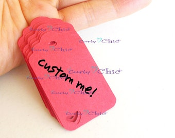 75 Personalized Rectangle Tag with Heart -Size 1 1/2 wide x 2 long- In Non-textured or Textured Cardstock paper