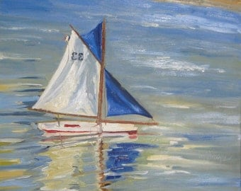 "Luxembourg Sail Boat. Original oil painting by Yvonne Wagner. Bateau. Boat. Free shipping to USA. 24 x 24 x 1.5""  (61 x 61 cm)  Deep edge."