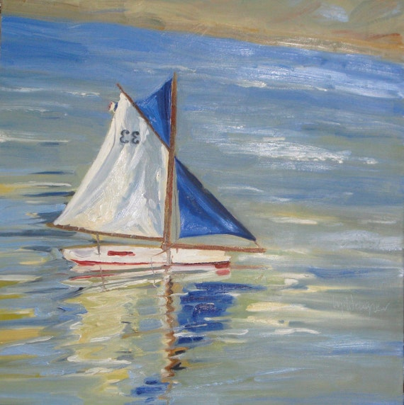 Luxembourg Sail Boat an original 24 x 24 x 1.5 inch ( 61 x 61 cm) oil painting by Yvonne Wagner. Bateau. Boat. Segelboot.