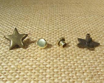 Star Rivets - 13mm - Antique Brass - Choose Your Quantity