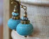 Bohemian Matte Teal Lampwork Glass Earrings, Artisan Jewelry, Blue Patina, Earthy Earrings, Glass Earrings - bstrung