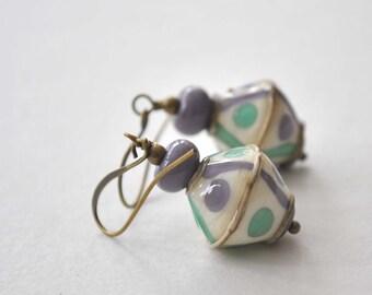 Purple Earrings, Dangle Earrings, Lampwork Glass Earrings, Artisan Glass Earrings, Geometric Earrings