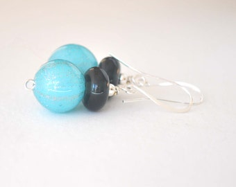 Blue Sparkle Earrings, Hollow Light Weight Earrings, Glass Earrings, Dangle Earrings