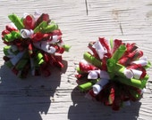 Red, Green & White Christmas Corker Hair Bows- Pig Tail Bows- Baby Bows- Toddler Bows- Girls Bows