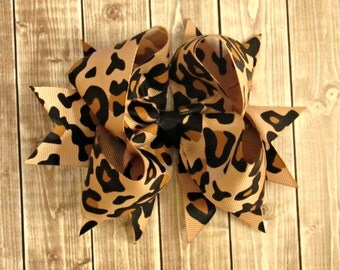 Big Cheetah Boutique Hair Bow- Baby Bow- Toddler Bow- Girls Bow