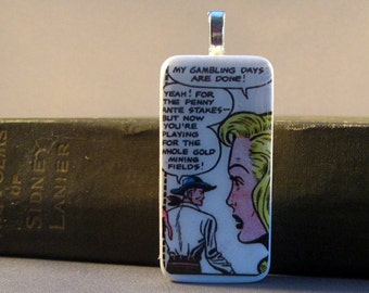 Done Gambling Vintage Western Comic Book  Domino Pendant