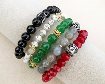 Holiday Bracelet Stack, Emerald Green, Garnet Red, Labradorite Gray, Onyx, Gold, Silver, Holiday, Stretch Bracelets, Zen, Handmade Jewelry